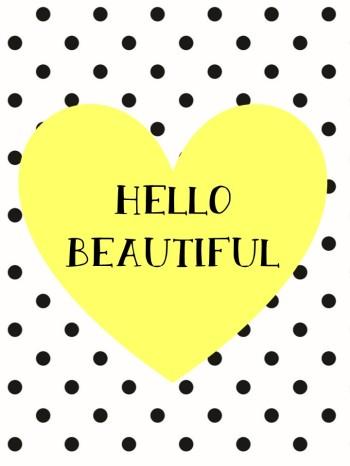 Hello Beautiful Print - Yellow